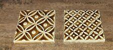 """2 Misc Pratt & Larson Brown Earth Glazed Ceramic Tiles 3.75"""" X 3.75"""""""
