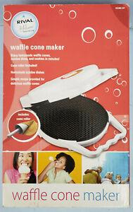 Rival Waffle Cone Maker Model WC800-WT White w/ Cone Roller, New Open Box