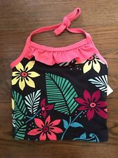 Tea Collection Girls 3 Swim Suit Top New With Tags Tropical Floral Print SPF 40