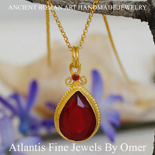 RED TOPAZ PENDANT STERLING SILVER 24K YELLOW GOLD OVER  HANDMADE  BY OMER