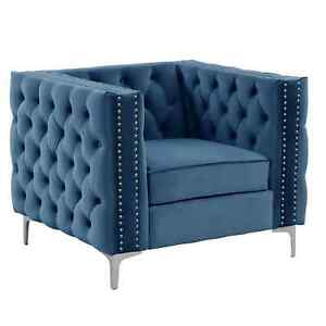 Morden Fort Accent Chair with Dutch Velvet Armchair Solid Wood Frame Blue