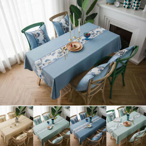 Modern Tablecloth Rectangle Dining Tea Table Cover Cotton Linen Kitchen Room