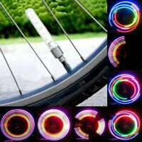 4 x LONG VALVE DUST CAP TYRE COLOUR LED NEON CAR BIKE WHEEL LIGHTS SAFETY