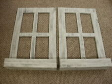 Lot of 2 White Weathered Look Window Pane With Box Primitive Wood