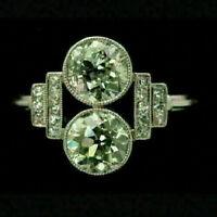 Art Deco Engagement Wedding Fine Ring 4Ct Round Diamond 14K White Gold Certified