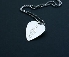 Etched Sterling Silver Treble Clef Guitar Pick Necklace