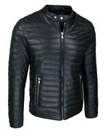 Giubbotto giacca uomo nero ecopelle slim fit giubbino bomber casual invernale