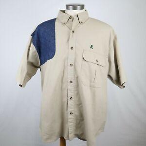 Remington Mens Beige Short Sleeve Button Down Vented Padded Shooting Shirt Sz XL