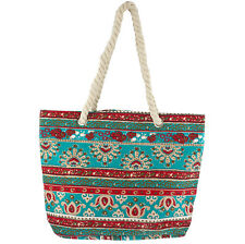 Printed Rope Summer Beach Tote Bag Lux Accessories Red and Turquoise Paisley