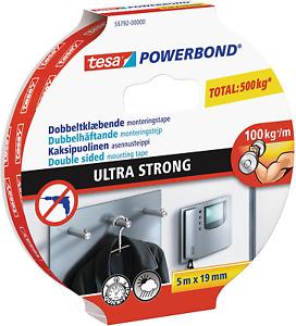 tesa UK Powerbond Ultra Strong Foam Double Sided Tape, 5 m x 19 mm