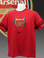Vintage Nike Club de Fútbol Arsenal Estampada Camiseta de Algodón Rojo M