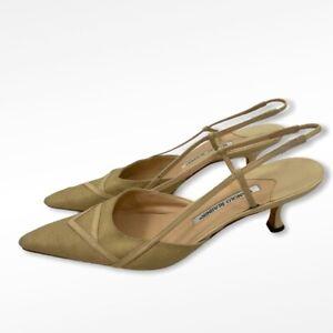 Manolo Blahnik Ivory Linen Pointed Toe Kitten Heels with Dust Bag Size 39.5