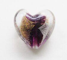 Glasperle Silberfolie Herz verschiedene Farben 28x28mm SERAJOSY