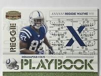 2008 DONRUSS GRIDIRON GEAR PLAYBOOK REGGIE WAYNE GAME-WORN JERSEY CARD /250