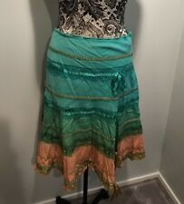 Bebe Multicolor Cotton Ribbon and Lace Circle Skirt Size M