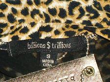 BILLIONS$TRILLIONS AnimalPrintSheerBlackShoulderCrop SzS NWT