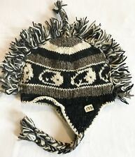 H153 Hand Knitted Mohawk Woolen Hat Cap with Fleece Lining Adult Made In Nepal