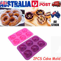 2pcs Silicone Mould Pan Donut Muffin Chocolate Cake Cookie Cupcake Baking Mold