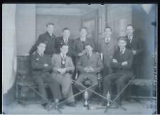 Anciens joueurs de billard de Braine-le-Comte - Négatif photo - Plaque de verre