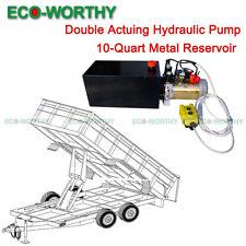 Double Acting Hydraulic Pump 12V DC Dump Trailer - 10 Quart Metal Reservoir *