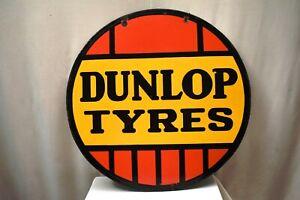 "Dunlop Tire Vintage Porcelain Enamel Sign Board Advertising Double Sided Rare""15"