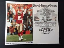JOE MONTANA 8x10 Hall of Fame Enshrinement 8x10 Supercard #1 SAN FRANCISCO 49ERS