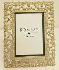 """NEW GOLD BRASS JEWELED CUT OUT LACE WEDDING PICTURE PHOTO FRAME BY BOMBAY 3.5x5"""""""