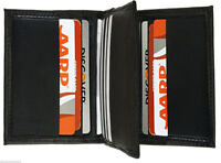 Black Men's Genuine Leather Thin Bifold Wallet 12 Credit Cards Thin Holder