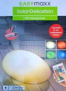 EASYmaxx Solar-Deko-Stein Farbwechsel 4 LEDs Solarpanel mit Sensor NEU