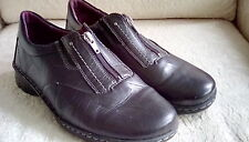 Josef Seibel Black Leather Loafers Size 40 EU 9 US Zipper Closure Womens Shoes