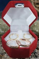 Lot of 2: 14k Yellow Gold & Rose Gold Hoop Earrings w/ Box
