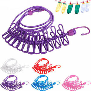 174cm Portable Drying Rack Clips Cloth Hangers Steel Line Pegs Travel Clothespin