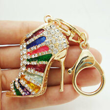 Fashion Charm Lady Heels Wallet Keychain Colorful Rhinestone Crystal Key Ring