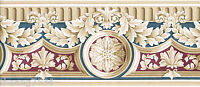 Architectural Acanthus Leaf Crown Molding Blue Green Gold Red Wall paper Border
