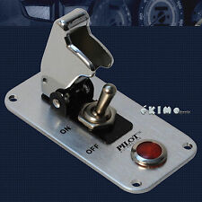 Pilot Chrome Anodized Safety Cover Aircraft Toggle Switch Red Indicator Light