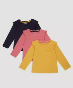 Girls nutmeg 3 pack COTTON long sleeve baby pocket tops  T-shirts multi clothes