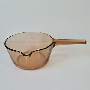 Corning France Vision 1.5L Vintage Spouted Saucepan Pot Amber Smoked Glass