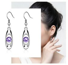 Rhodium Plated Silver Dangle Drop Earrings Light Purple Round Swarovski Crystals