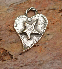 Sterling Silver Heart with Star Charm, Cowgirl Charms, H-336