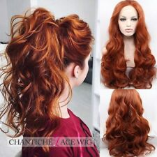 """Copper Red Lace Wigs Long Wavy Glueless Synthetic Lace Front Wigs For Party 24"""""""