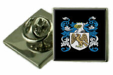 Donaldson Ireland Family Crest Coat Of Arms Lapel Pin Badge Engraved Gift Case