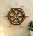 Brass Six Spoke Ship 18'' Wheel Wooden Stripe Steering Captain Boat Pirate Brown