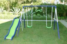 Swing Set Playground Metal Swing and Slide Set Backyard Playset Outdoor Play
