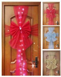 Christmas Door Bow Window Traditional Xmas Wedding Decor Red Gold Grey LED UK