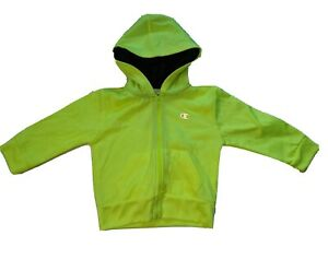 Champion Hoodie Florescent Yellow Embroidered Toddler Baby Size 18 M Sweatshirt