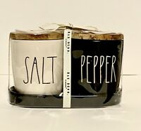 "Rae Dunn ""SALT & PEPPER"" Black and White Cellars with Tray Ceramic Set."