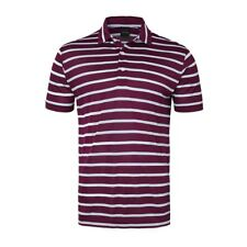 New Dunning Golf Striped Polo Shirt Fig Maroon & White Large L NWT