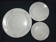 Corelle Sandstone Light Blue Flowers White Lines 12 Plates; Dinner Salad Saucer
