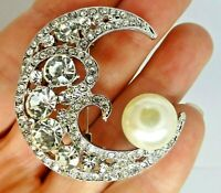 Crescent moon brooch rhinestone crystal faux pearl vintage style in gift box