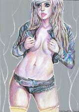 original drawing A4 566UV art samovar Mixed Media female nude Signed 2020